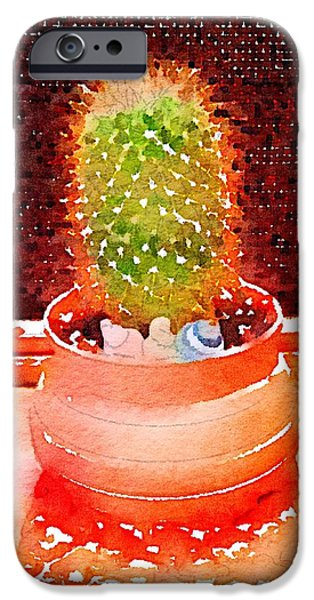 Plants Ceramics iPhone Cases - Cactus Planter Waterlogue iPhone Case by Evelyn Taylor Designs