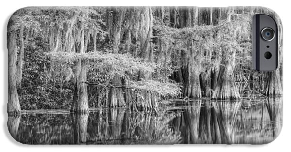 Caddo Lake iPhone Cases - Caddo Lake State Park Black and Whtie 1 iPhone Case by Rob Greebon