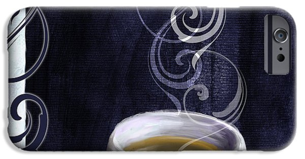 Espresso Paintings iPhone Cases - Cafe Blue IV iPhone Case by Mindy Sommers