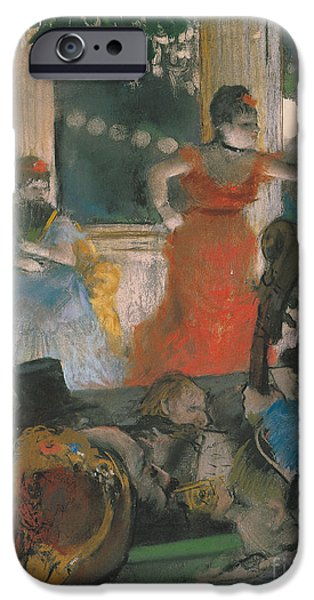 Outdoors Pastels iPhone Cases - Cafe Concert at Les Ambassadeurs iPhone Case by Edgar Degas