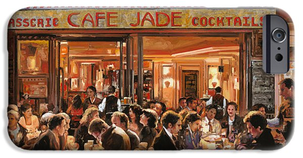 Waiter Paintings iPhone Cases - Cafe Jade iPhone Case by Guido Borelli
