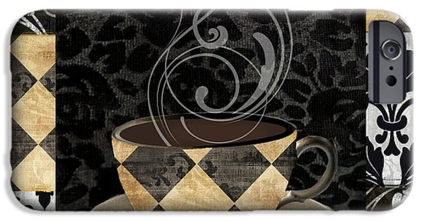 Espresso Paintings iPhone Cases - Cafe Noir IV iPhone Case by Mindy Sommers
