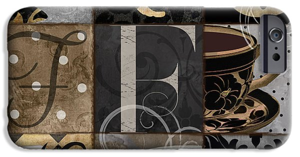 Latte iPhone Cases - Cafe Noir Patchwork iPhone Case by Mindy Sommers