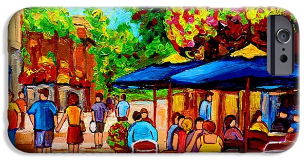 Garden Scene Paintings iPhone Cases - Cafe On Prince Arthur  In Montreal  iPhone Case by Carole Spandau