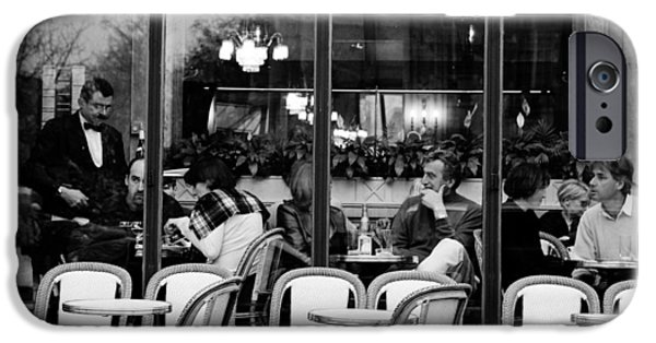 Monotone Pyrography iPhone Cases - Cafe Parisian. iPhone Case by Cyril Jayant