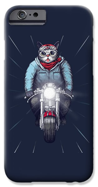 Cat Drawing Drawings iPhone Cases - Cafe Racer Cat iPhone Case by Illustratorial