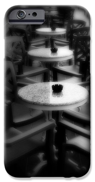 Table Wine iPhone Cases - Cafe Tables iPhone Case by Perry Webster