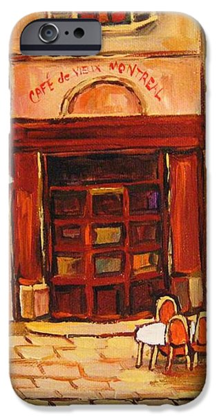 Cafe Vieux Montreal iPhone Case by CAROLE SPANDAU