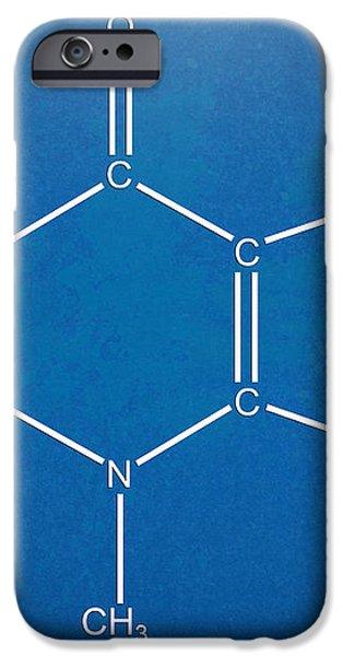 Caffeine Molecular Structure Blueprint iPhone Case by Nikki Marie Smith