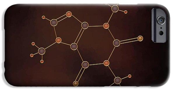 Hydrogen Paintings iPhone Cases - Caffeine Molecule iPhone Case by Pet Serrano