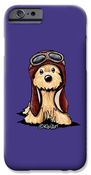 Kim Drawings iPhone Cases - Cairn Terrier Pilot iPhone Case by Kim Niles