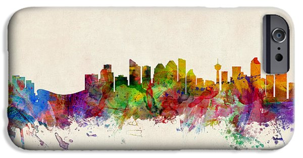 Canada iPhone Cases - Calgary Skyline iPhone Case by Michael Tompsett