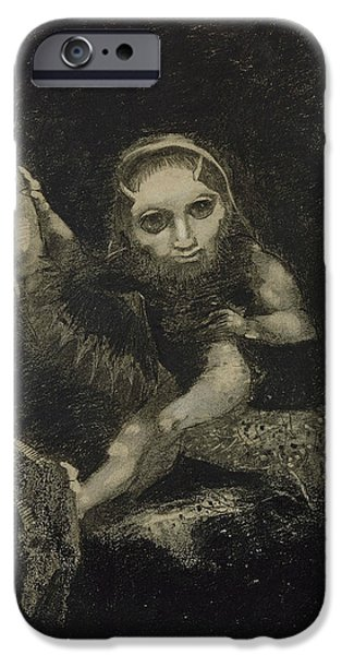 20th Drawings iPhone Cases - Caliban iPhone Case by Odilon Redon