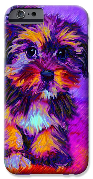 Puppies Digital Art iPhone Cases - Calico Dog iPhone Case by Jane Schnetlage