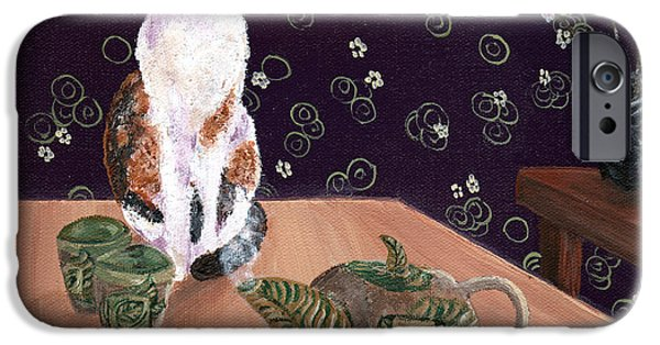 Pottery Paintings iPhone Cases - Calico Tea Meditation iPhone Case by Laura Iverson