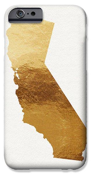 Santa Mixed Media iPhone Cases - California Gold- Art by Linda Woods iPhone Case by Linda Woods