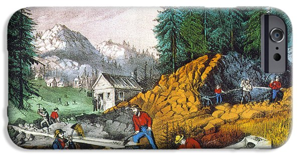 1871 iPhone Cases - California: Gold Mining iPhone Case by Granger