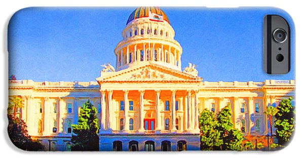 Federal Digital iPhone Cases - California State Capitol . Painterly iPhone Case by Wingsdomain Art and Photography