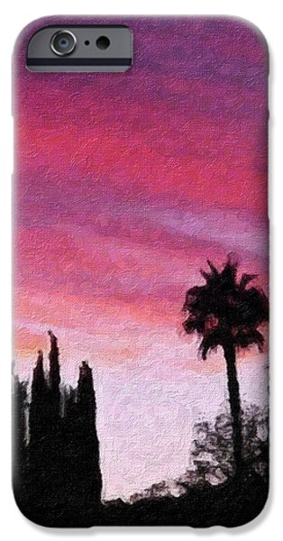 Palm Tree Greeting Cards iPhone Cases - California Sunset Painting 2 iPhone Case by Teresa Mucha
