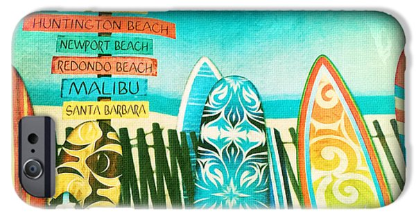 Board iPhone Cases - California Surfboards iPhone Case by Nina Prommer