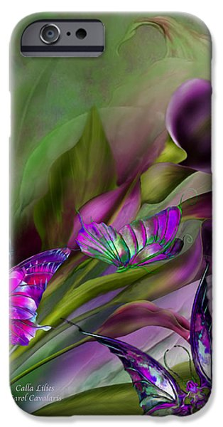 Purple Prints iPhone Cases - Calla Lilies iPhone Case by Carol Cavalaris