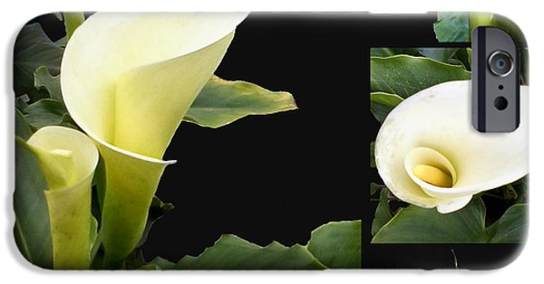 Alcatraz iPhone Cases - Calla lilies collage  iPhone Case by Madalena Lobao-Tello