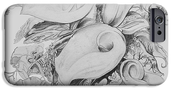 Calla Lilly iPhone Cases - Calla Lillies in Black and White iPhone Case by John Keaton