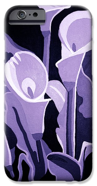 Calla Lilly iPhone Cases - Calla Lillies Lavender iPhone Case by Angelina Vick