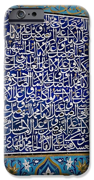 Mosaic Photographs iPhone Cases - Calligraphic Mosaic, Iran iPhone Case by Dirk Wiersma
