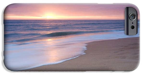 Freedom iPhone Cases - Calm Beach Waves During Sunset iPhone Case by Angelo DeVal
