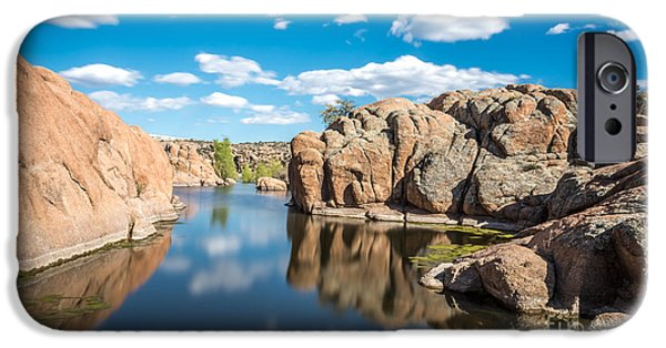 Watson Lake iPhone Cases - Calm Reflections at Watson Lake iPhone Case by Leo Bounds