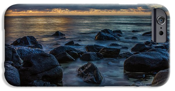 Ocean Sunset iPhone Cases - Calm Waters iPhone Case by Digital Kulprits