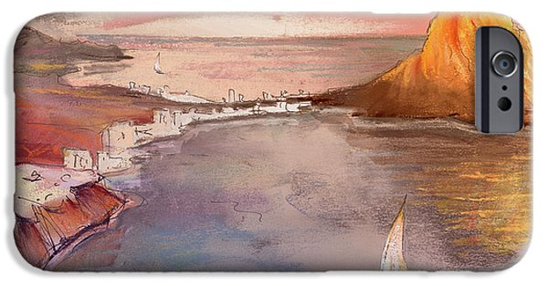 Sea iPhone Cases - Calpe at Sunset iPhone Case by Miki De Goodaboom