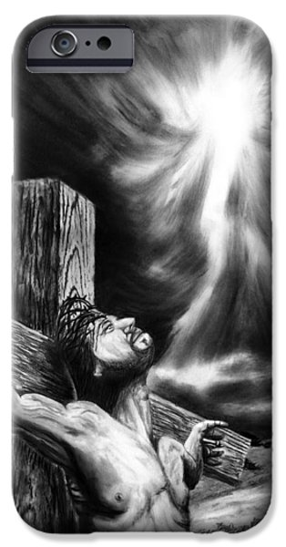 Religious Drawings iPhone Cases - Calvary iPhone Case by Peter Piatt