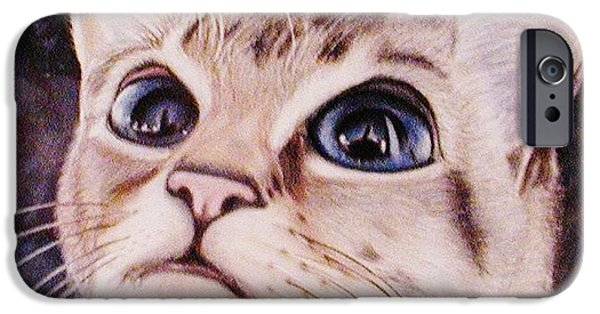 Pastel iPhone Cases - Calvin the Cat iPhone Case by Martha Ayotte
