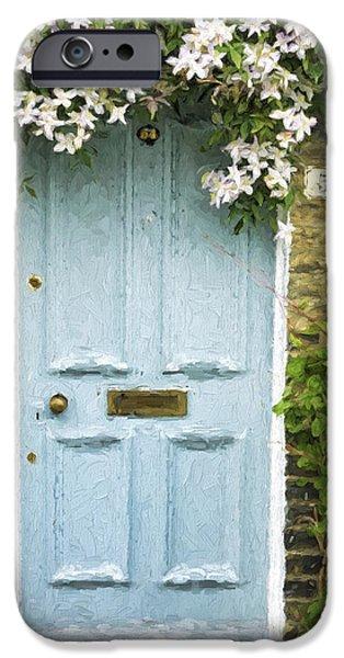 Cambridge iPhone Cases - Cambridge Doorway 54 Painterly Effect iPhone Case by Carol Leigh