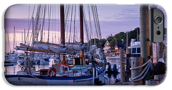 Mid-coast Maine iPhone Cases - Camden Windjammer Dawn iPhone Case by Susan Cole Kelly