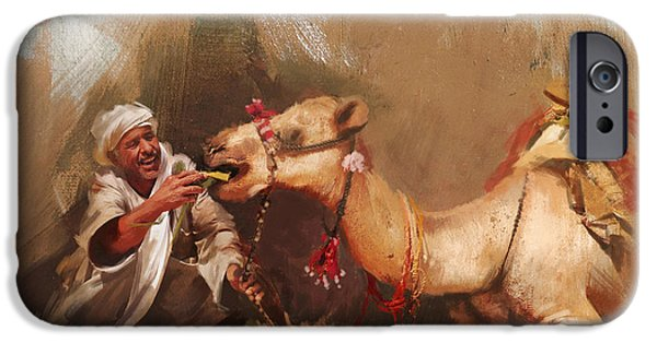 SAHARA iPhone Cases - Camels and Desert 13 iPhone Case by Mahnoor Shah