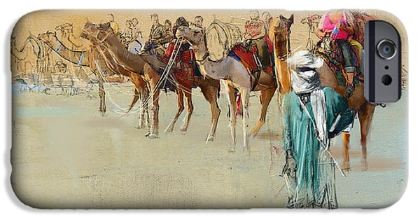 SAHARA iPhone Cases - Camels and Desert 2 iPhone Case by Mahnoor Shah