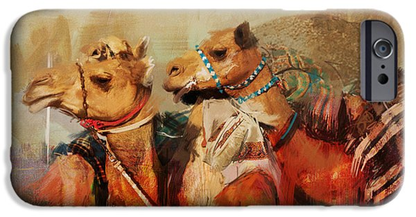 SAHARA iPhone Cases - Camels and Desert 28 iPhone Case by Mahnoor Shah