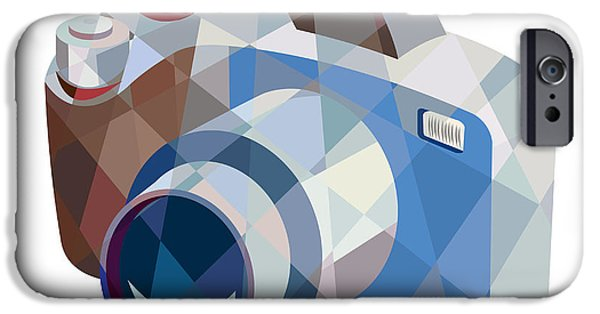Camera iPhone Cases - Camera DSLR Low Polygon iPhone Case by Aloysius Patrimonio