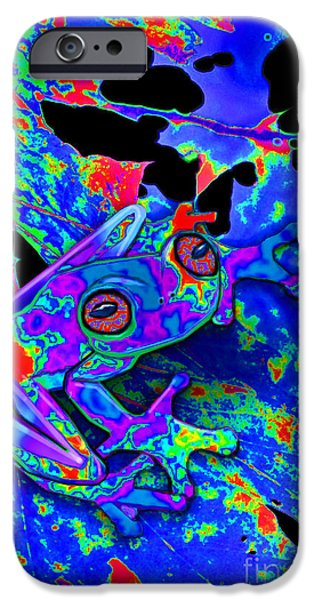 Amphibians Digital Art iPhone Cases - Camo Frog iPhone Case by Nick Gustafson