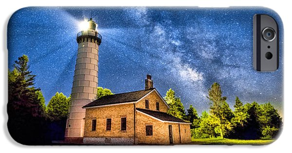 Chicago Paintings iPhone Cases - Cana Island Lighthouse Milky Way in Door County Wisconsin iPhone Case by Christopher Arndt