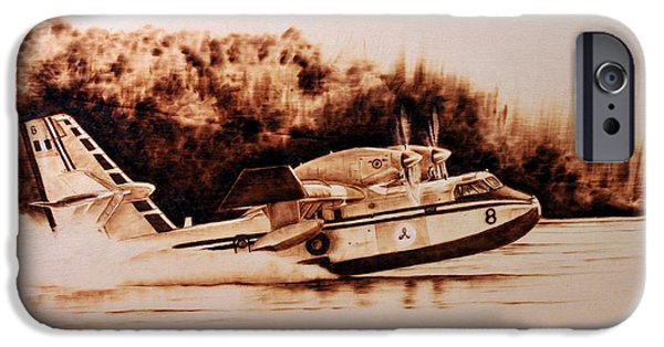 Aviation Pyrography iPhone Cases - Canadair iPhone Case by Ilaria Andreucci