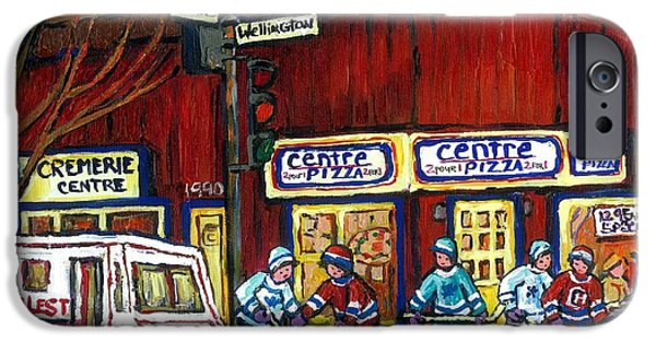 Hockey Paintings iPhone Cases - Canadian Art Pointe St Charles Paintings Night Hockey Game Centre Pizza Sealtest Delivery Truck  iPhone Case by Carole Spandau