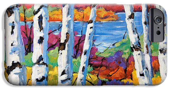 Canadiens Paintings iPhone Cases - Canadian Birches by Prankearts iPhone Case by Richard T Pranke