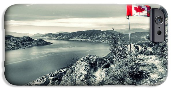 Nation iPhone Cases - Canadian Flag on Pincushion Mountain iPhone Case by Tara Turner