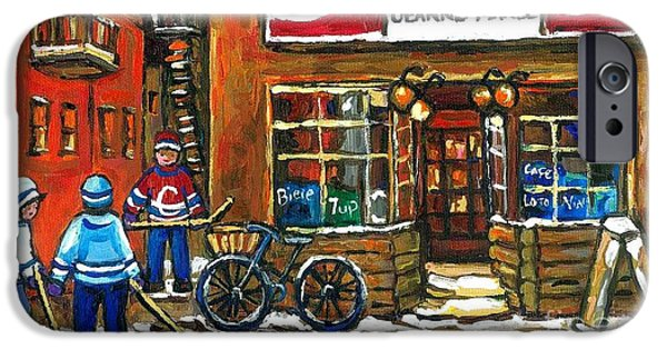 Hockey Paintings iPhone Cases - Canadian Hockey Art Night Scene Coca Cola Depanneur Best Montreal Art Quebec Paintings For Sale iPhone Case by Carole Spandau