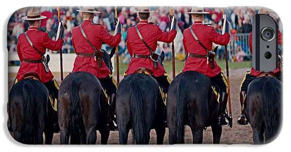 Weapon iPhone Cases - Canadian Mounties  Celebration Colors and presentation march show iPhone Case by Navin Joshi