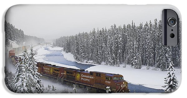 Colour Image iPhone Cases - Canadian Pacific Train At Morants Curve iPhone Case by Darwin Wiggett